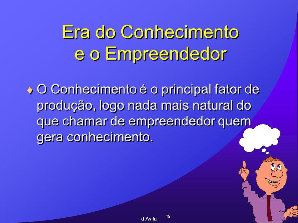 15 d´Avila Era do Conhecimento e o Empreendedor O Conhecimento é o principal fator de produção, logo nada mais natural do que chamar de empreendedor q