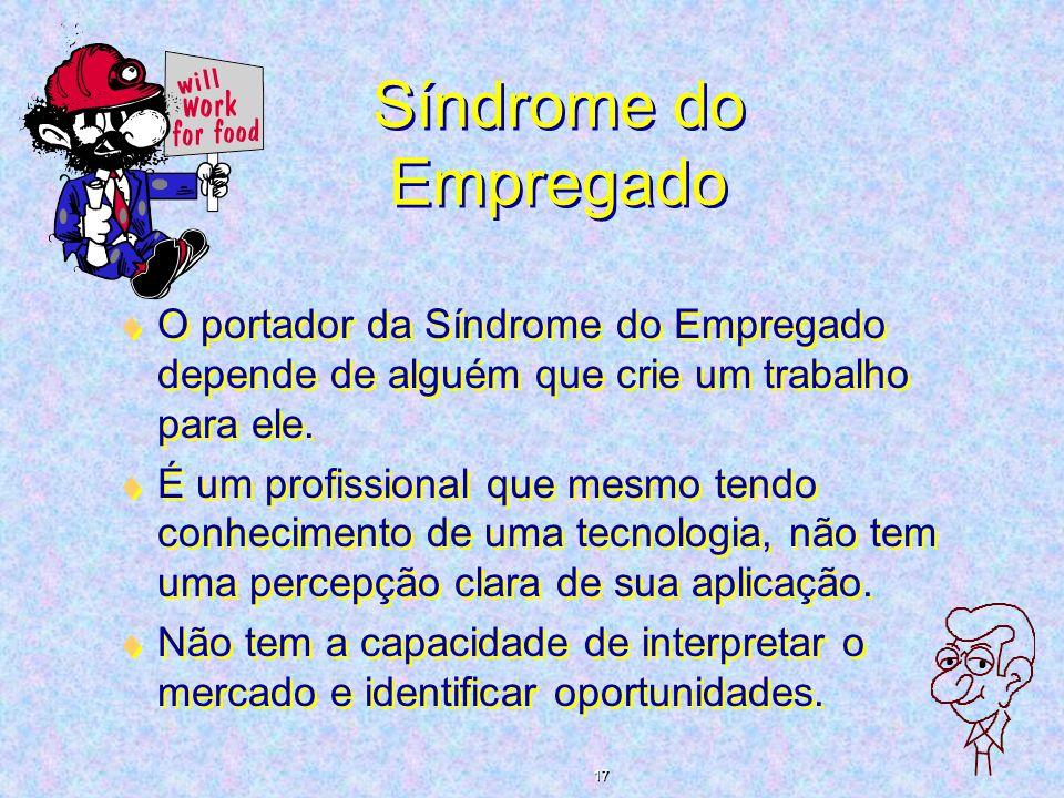 Síndrome do Empregado O portador da Síndrome do Empregado depende de alguém que crie um trabalho para ele. É um profissional que mesmo tendo conhecime
