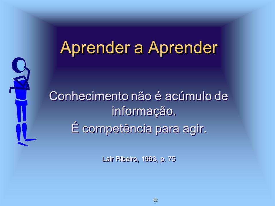 Aprender a Aprender Conhecimento não é acúmulo de informação. É competência para agir. Lair Ribeiro, 1993, p. 75 Conhecimento não é acúmulo de informa