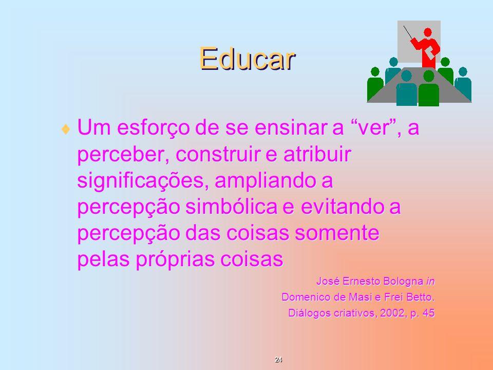 Educar Um esforço de se ensinar a ver, a perceber, construir e atribuir significações, ampliando a percepção simbólica e evitando a percepção das cois