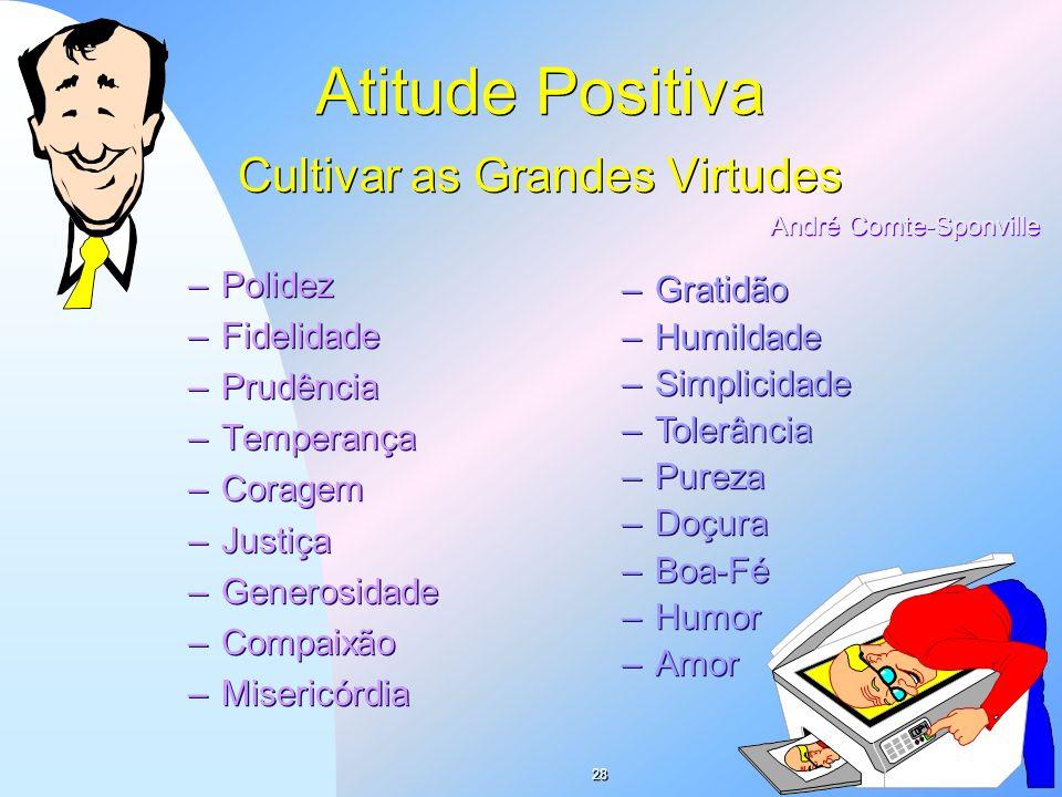 Atitude Positiva Cultivar as Grandes Virtudes –Polidez –Fidelidade –Prudência –Temperança –Coragem –Justiça –Generosidade –Compaixão –Misericórdia –Po