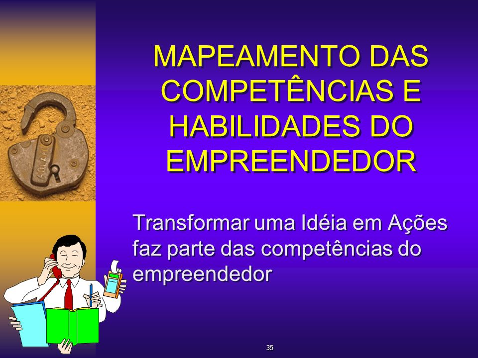 MAPEAMENTO DAS COMPETÊNCIAS E HABILIDADES DO EMPREENDEDOR Transformar uma Idéia em Ações faz parte das competências do empreendedor 35