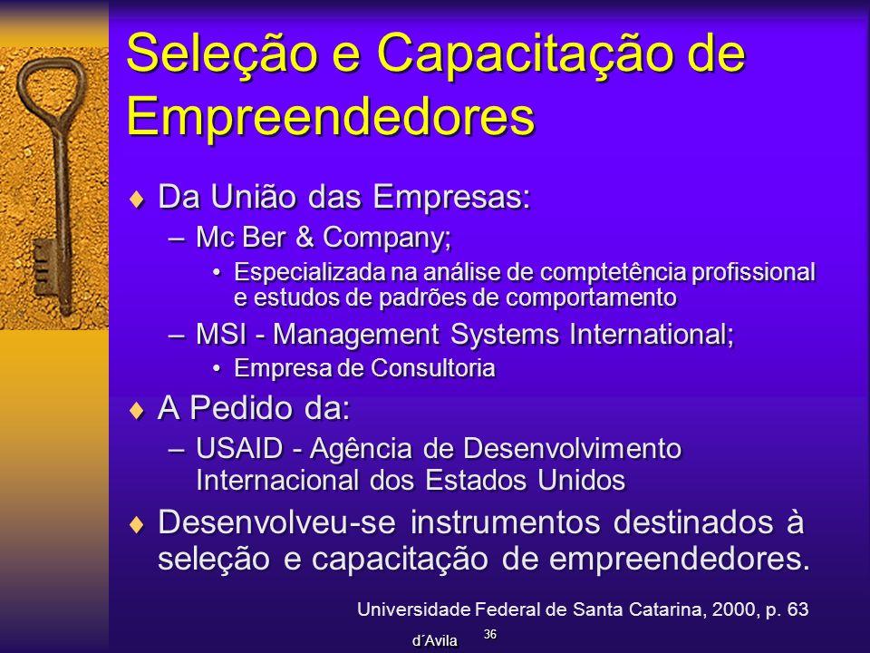 36 d´Avila Seleção e Capacitação de Empreendedores Da União das Empresas: –Mc Ber & Company; Especializada na análise de comptetência profissional e e