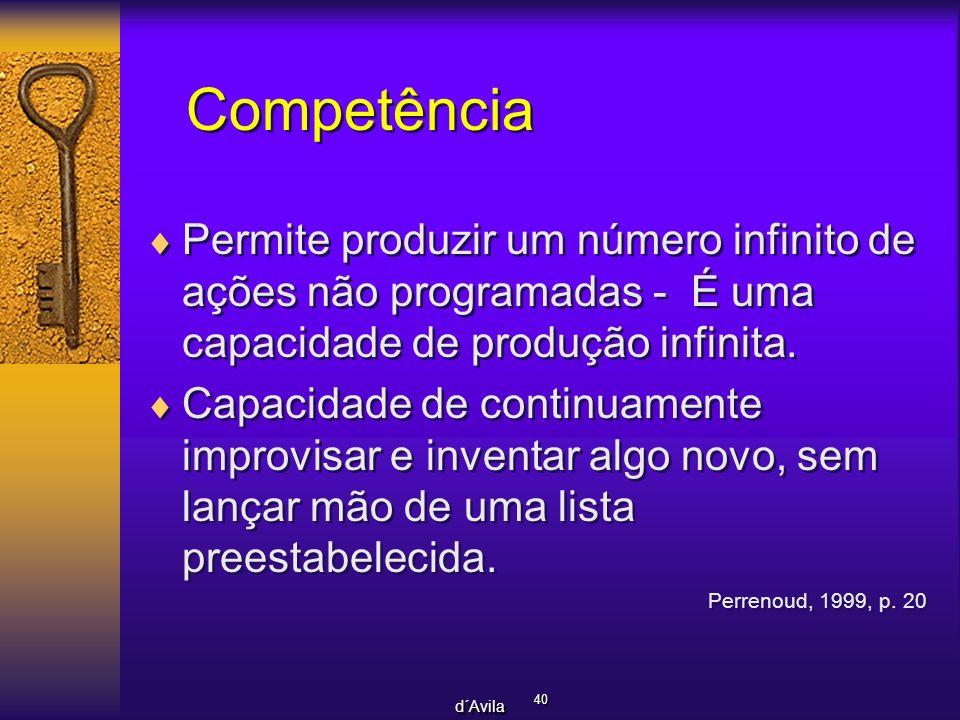 40 d´Avila Competência Permite produzir um número infinito de ações não programadas - É uma capacidade de produção infinita. Capacidade de continuamen