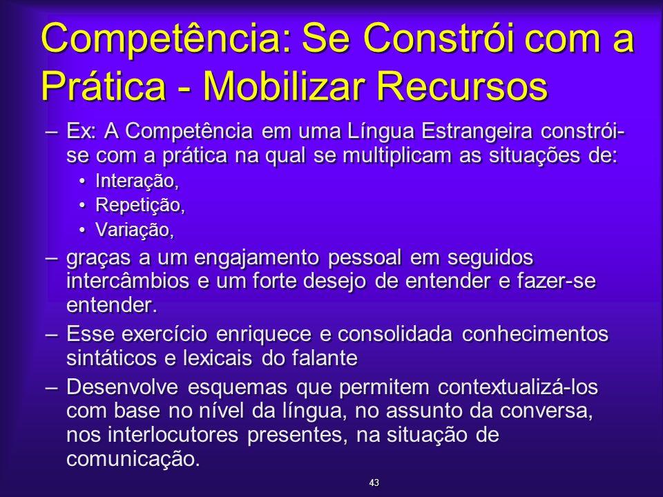 Competência: Se Constrói com a Prática - Mobilizar Recursos –Ex: A Competência em uma Língua Estrangeira constrói- se com a prática na qual se multipl