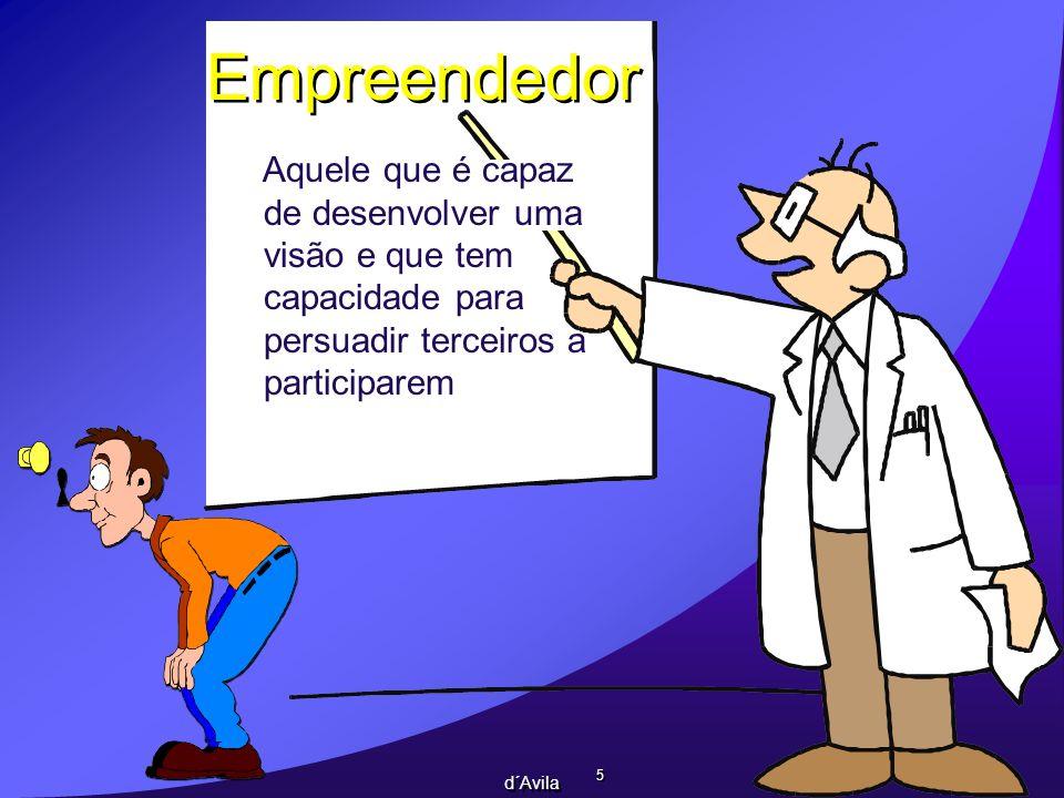 5 5 d´Avila Aquele que é capaz de desenvolver uma visão e que tem capacidade para persuadir terceiros a participarem Empreendedor