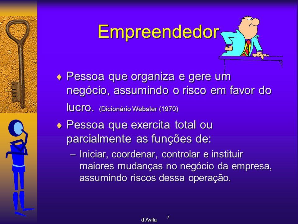 7 7 d´Avila Empreendedor Pessoa que organiza e gere um negócio, assumindo o risco em favor do lucro. (Dicionário Webster (1970) Pessoa que exercita to