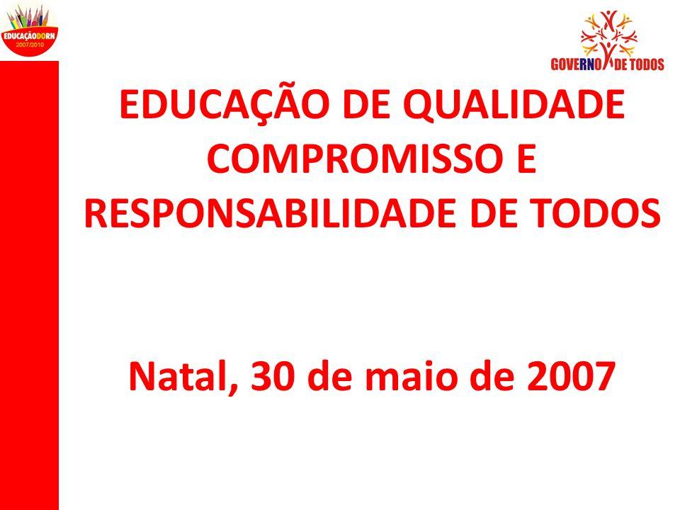 EDUCAÇÃO DE QUALIDADE COMPROMISSO E RESPONSABILIDADE DE TODOS Natal, 30 de maio de 2007