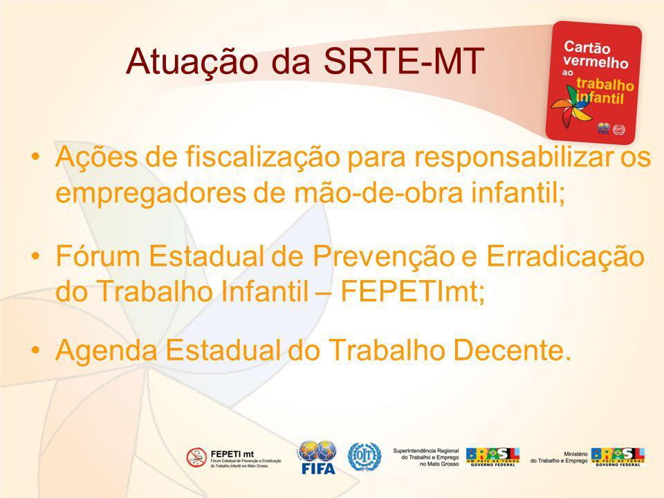 Atuação da SRTE-MT Ações de fiscalização para responsabilizar os empregadores de mão-de-obra infantil; Fórum Estadual de Prevenção e Erradicação do Tr