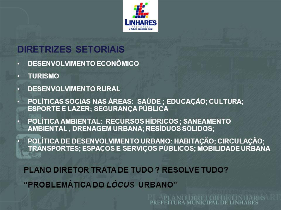 DIRETRIZES SETORIAIS DESENVOLVIMENTO ECONÔMICO TURISMO DESENVOLVIMENTO RURAL POLÍTICAS SOCIAS NAS ÁREAS: SAÚDE ; EDUCAÇÃO; CULTURA; ESPORTE E LAZER; S