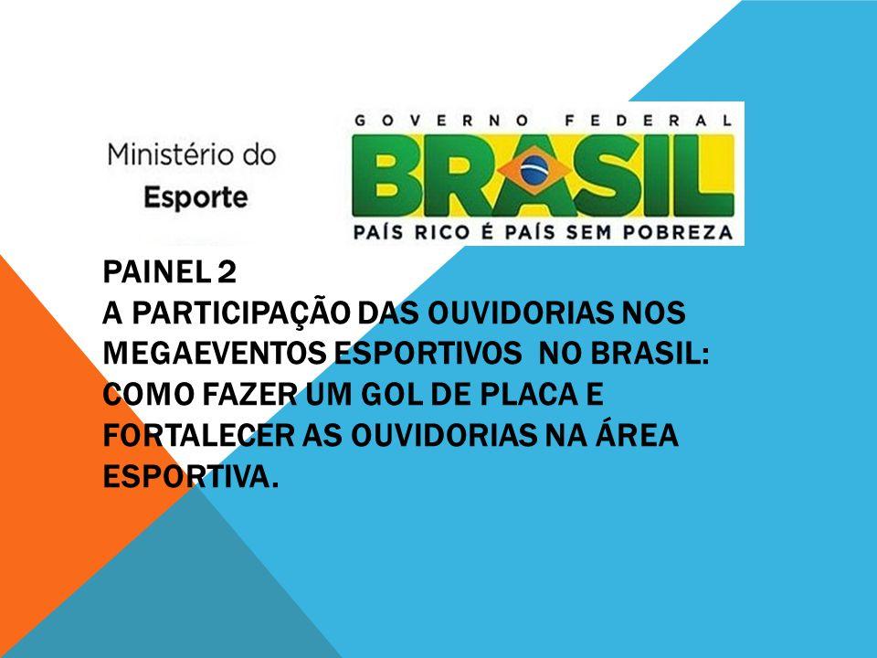PAINEL 2 A PARTICIPAÇÃO DAS OUVIDORIAS NOS MEGAEVENTOS ESPORTIVOS NO BRASIL: COMO FAZER UM GOL DE PLACA E FORTALECER AS OUVIDORIAS NA ÁREA ESPORTIVA.
