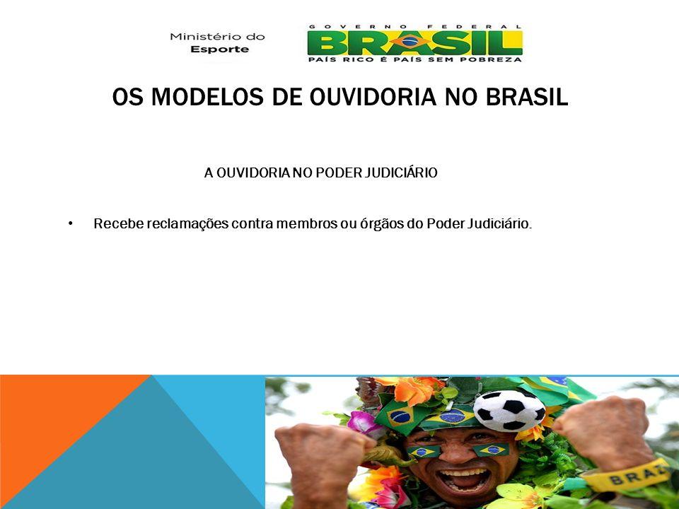 OS MODELOS DE OUVIDORIA NO BRASIL A OUVIDORIA NO PODER JUDICIÁRIO Recebe reclamações contra membros ou órgãos do Poder Judiciário.