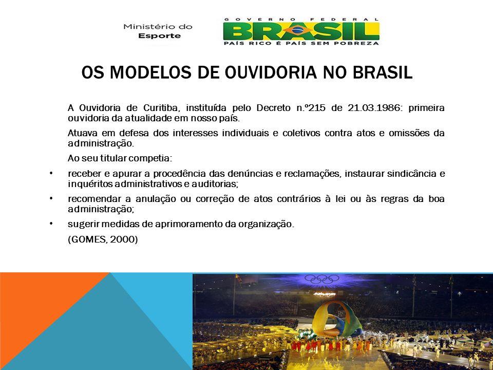 OS MODELOS DE OUVIDORIA NO BRASIL A Ouvidoria de Curitiba, instituída pelo Decreto n.º215 de 21.03.1986: primeira ouvidoria da atualidade em nosso paí