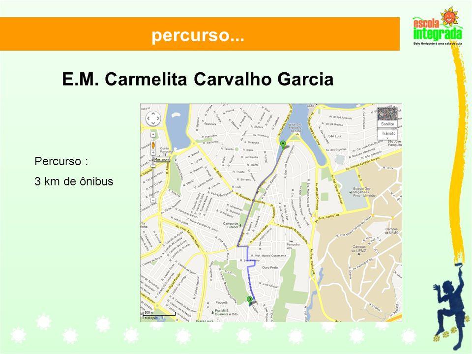 percurso... E.M. Carmelita Carvalho Garcia Percurso : 3 km de ônibus