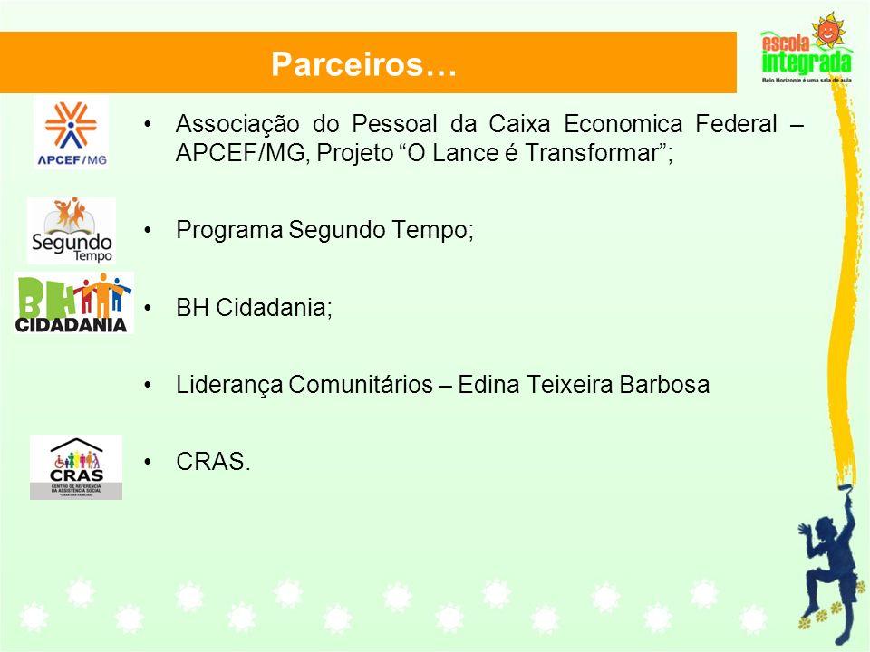 Parceiros… Associação do Pessoal da Caixa Economica Federal – APCEF/MG, Projeto O Lance é Transformar; Programa Segundo Tempo; BH Cidadania; Liderança Comunitários – Edina Teixeira Barbosa CRAS.