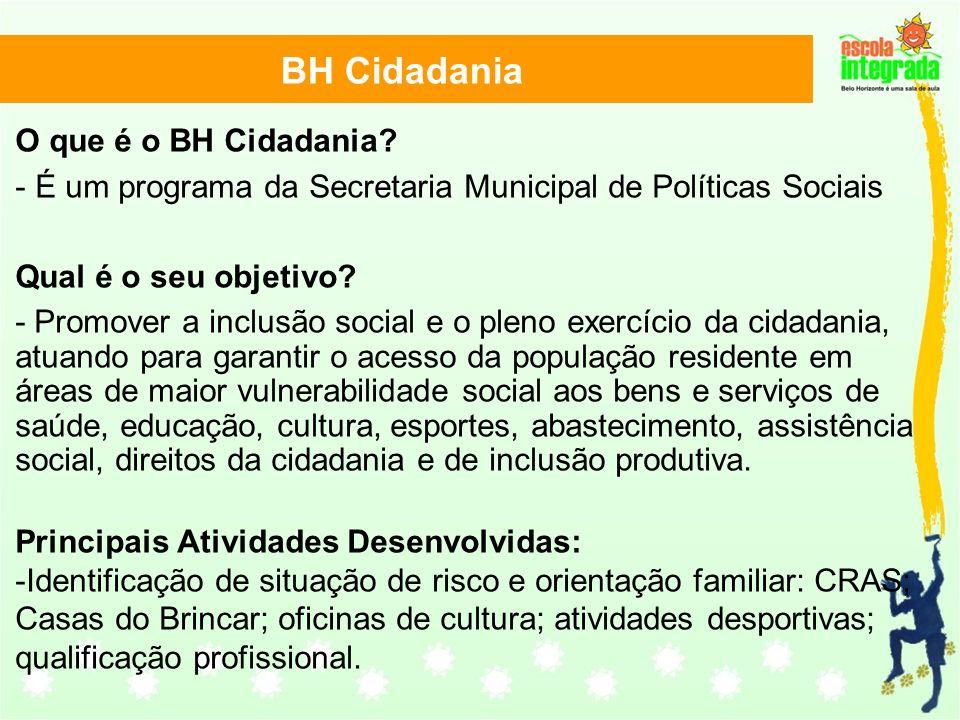 BH Cidadania O que é o BH Cidadania? - É um programa da Secretaria Municipal de Políticas Sociais Qual é o seu objetivo? - Promover a inclusão social