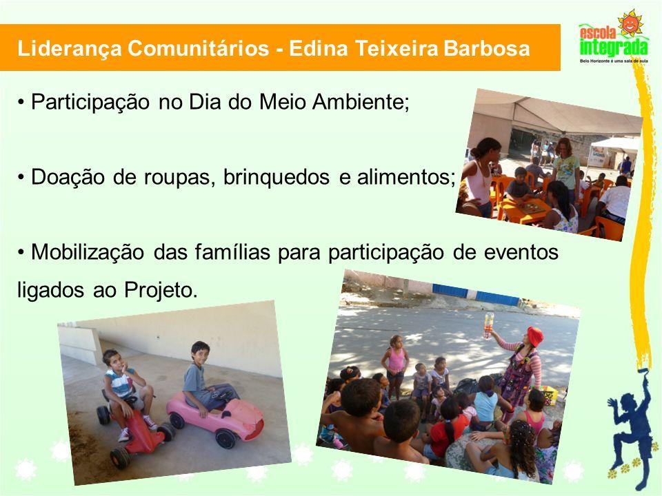 Liderança Comunitários - Edina Teixeira Barbosa Participação no Dia do Meio Ambiente; Doação de roupas, brinquedos e alimentos; Mobilização das famílias para participação de eventos ligados ao Projeto.