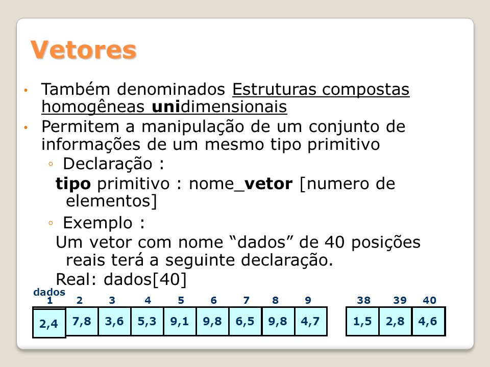 Vetores Também denominados Estruturas compostas homogêneas unidimensionais Também denominados Estruturas compostas homogêneas unidimensionais Permitem