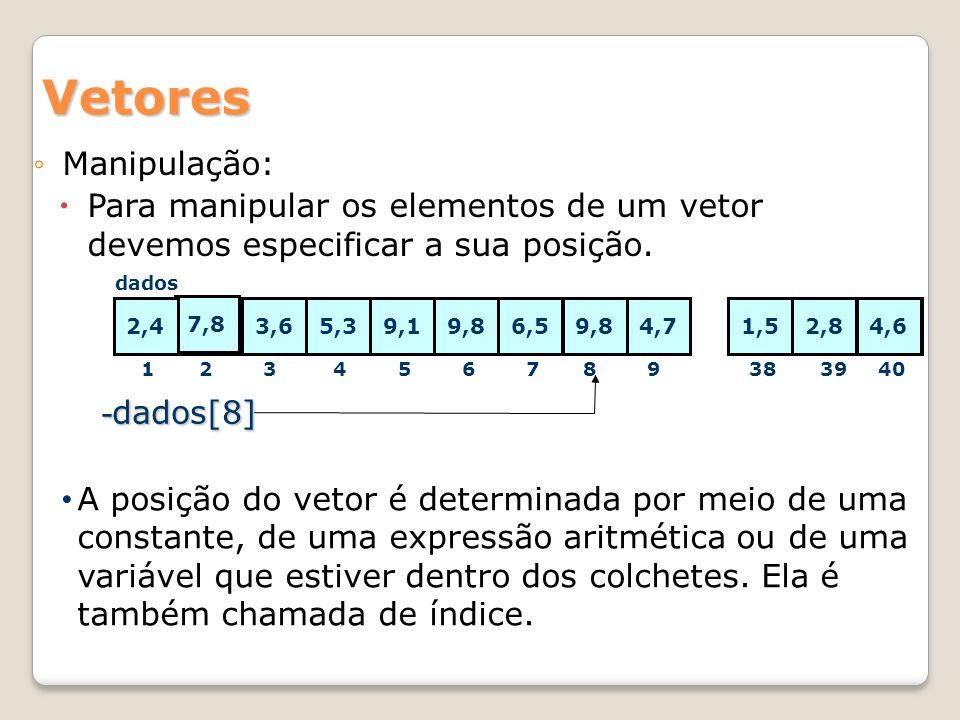 Vetores Algoritmo literal:G[20], R[20] inteiro:i,j,acertos inicio para i de 1 até 20 repita leia (G[i]) fim para para j de 1 até 50 repita acertos 0 Para i de 1 até 20 repita leia R[i] se (R[i]=G[i]) então acertos acertos+1 fim se fim para nota acertos*0.5 se (nota>=6) então escreva (APROVADO) senão escreva(REPROVADO) fim se fim para fim