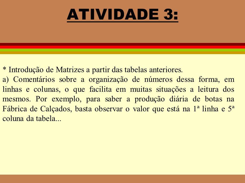 ATIVIDADE 3: * Introdução de Matrizes a partir das tabelas anteriores. a) Comentários sobre a organização de números dessa forma, em linhas e colunas,
