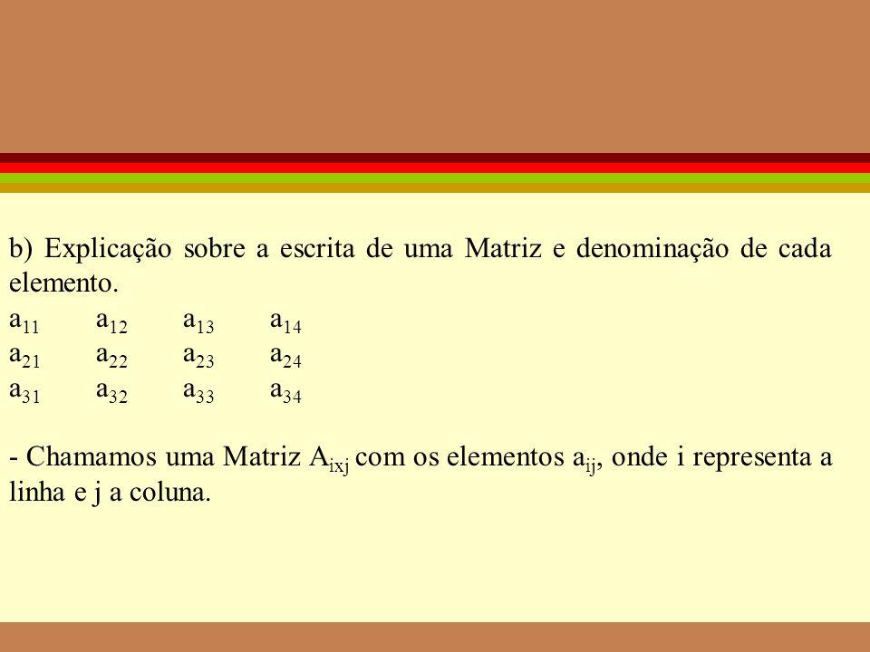 b) Explicação sobre a escrita de uma Matriz e denominação de cada elemento.