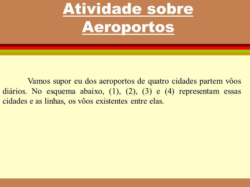 Atividade sobre Aeroportos Vamos supor eu dos aeroportos de quatro cidades partem vôos diários. No esquema abaixo, (1), (2), (3) e (4) representam ess