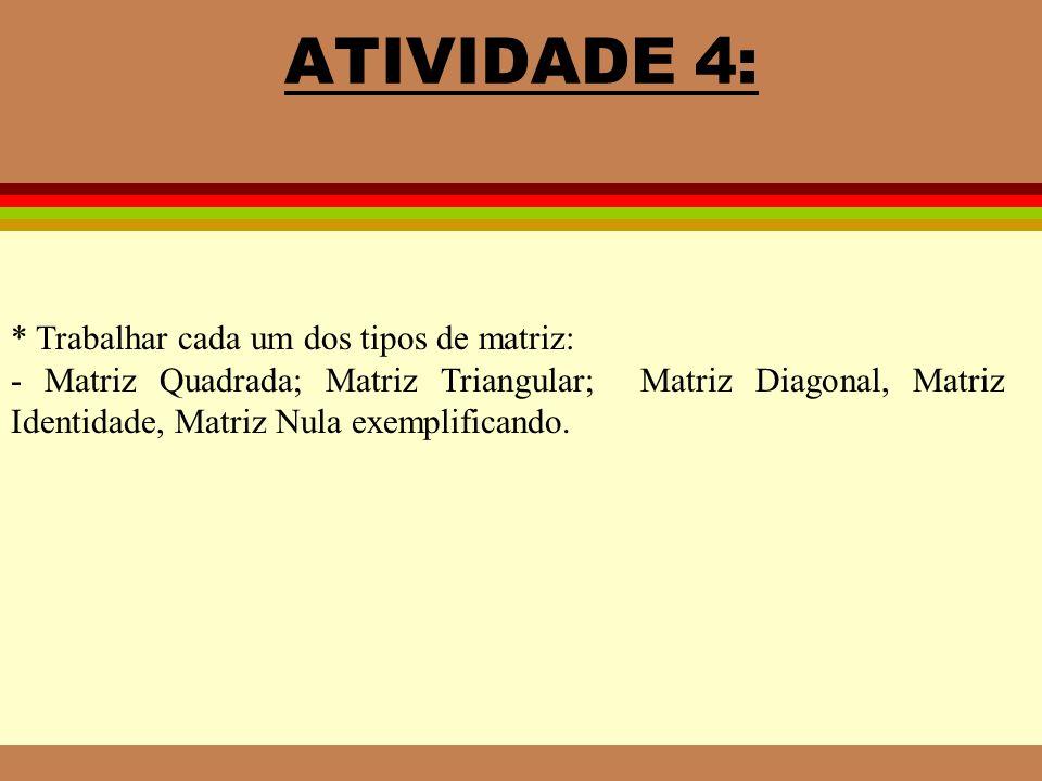 ATIVIDADE 4: * Trabalhar cada um dos tipos de matriz: - Matriz Quadrada; Matriz Triangular; Matriz Diagonal, Matriz Identidade, Matriz Nula exemplificando.