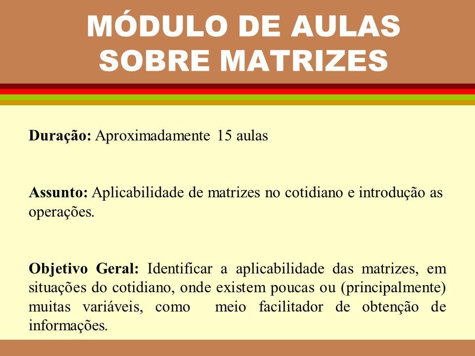 MÓDULO DE AULAS SOBRE MATRIZES Duração: Aproximadamente 15 aulas Assunto: Aplicabilidade de matrizes no cotidiano e introdução as operações. Objetivo