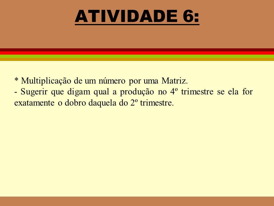 ATIVIDADE 6: * Multiplicação de um número por uma Matriz.