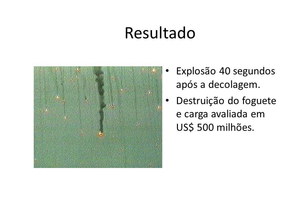 Resultado Explosão 40 segundos após a decolagem.