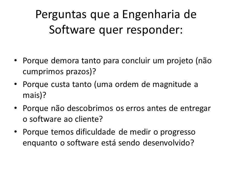 Perguntas que a Engenharia de Software quer responder: Porque demora tanto para concluir um projeto (não cumprimos prazos).