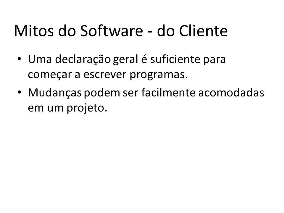 Mitos do Software - do Cliente Uma declaração geral é suficiente para começar a escrever programas.