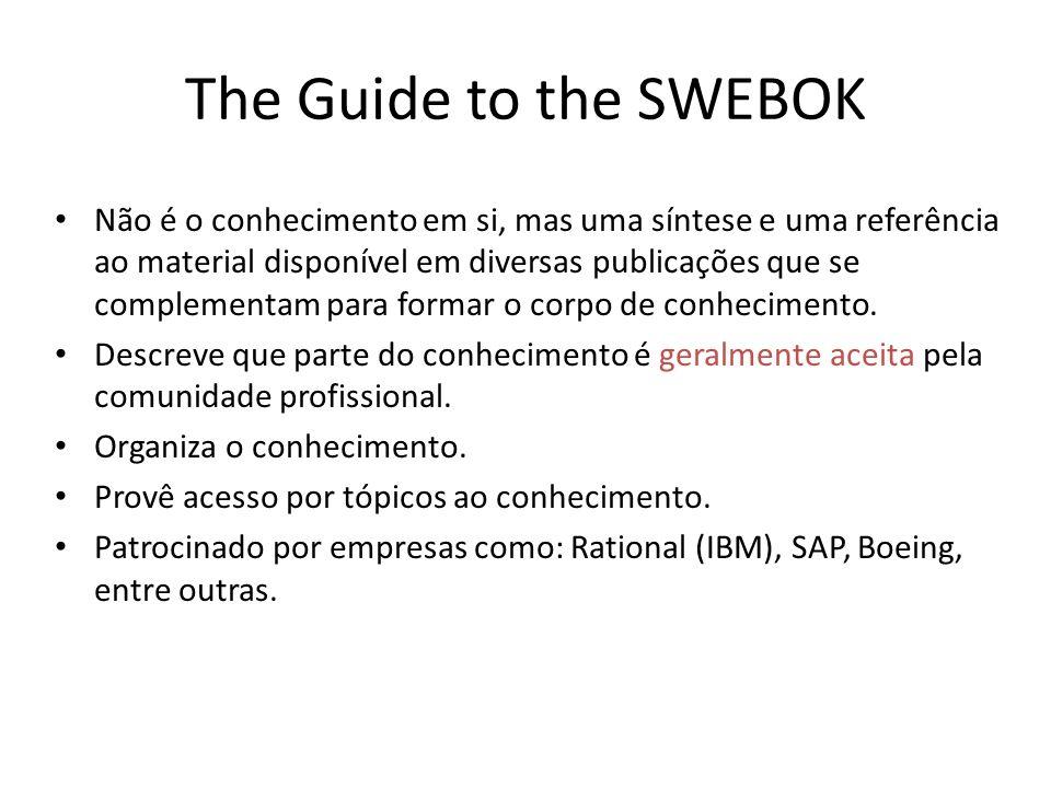 The Guide to the SWEBOK Não é o conhecimento em si, mas uma síntese e uma referência ao material disponível em diversas publicações que se complementam para formar o corpo de conhecimento.