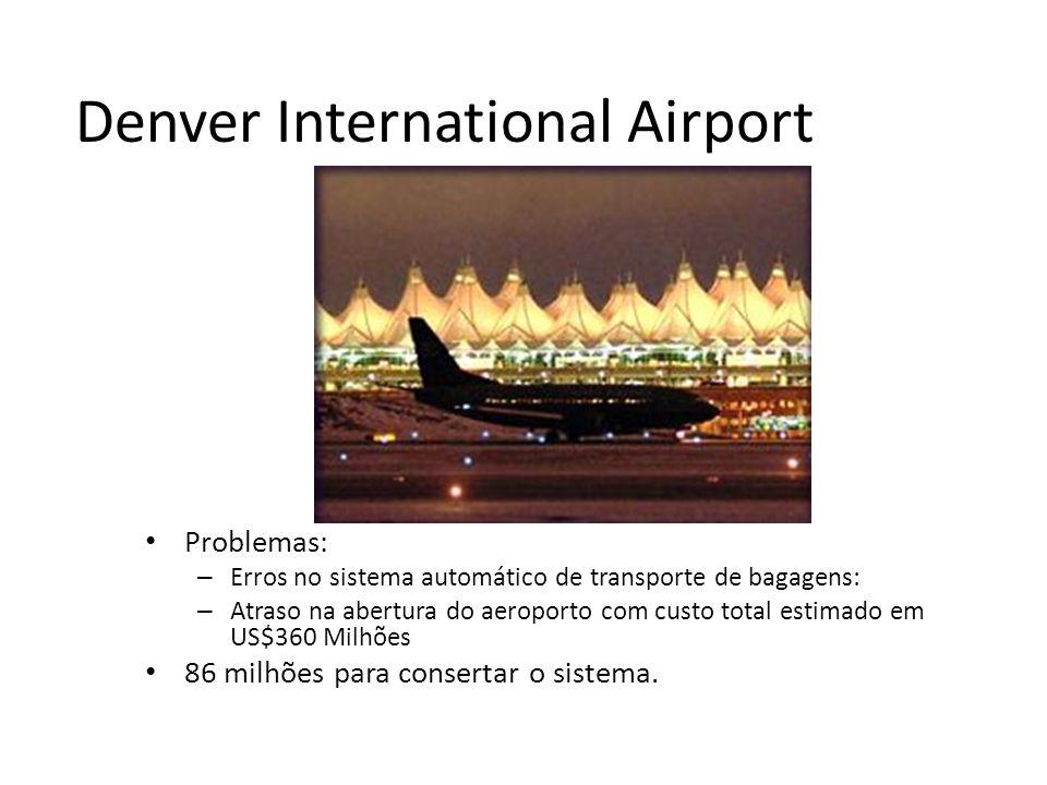 Denver International Airport Problemas: – Erros no sistema automático de transporte de bagagens: – Atraso na abertura do aeroporto com custo total estimado em US$360 Milhões 86 milhões para consertar o sistema.