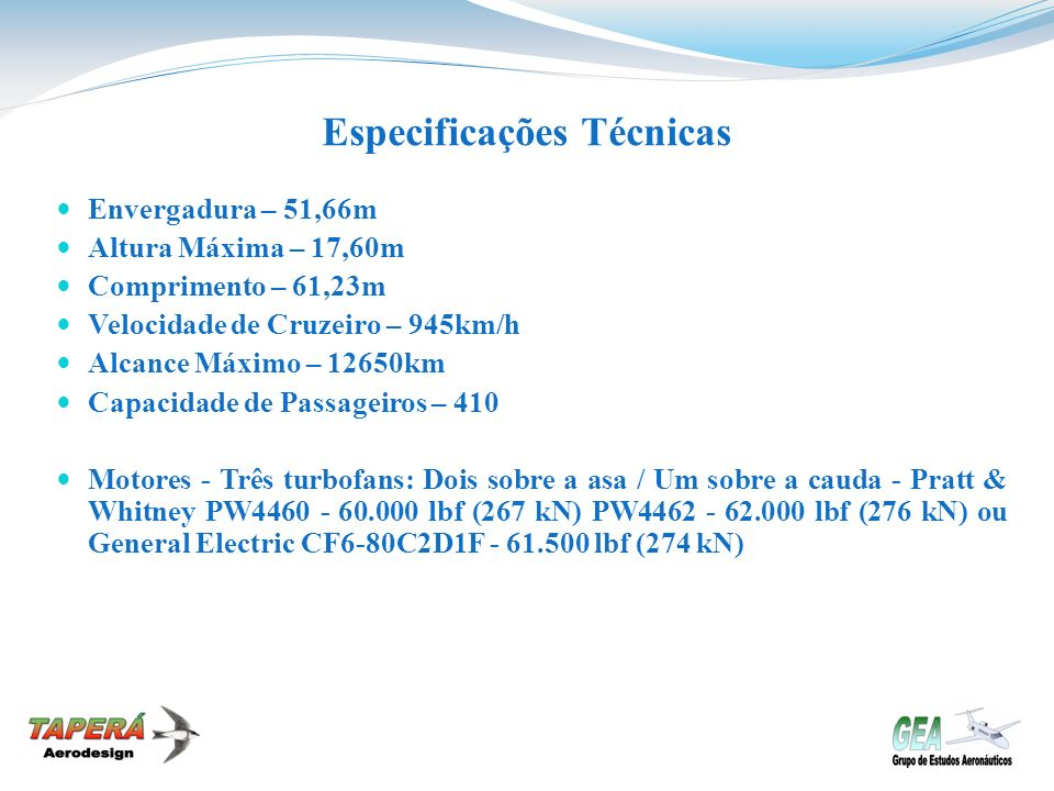 Especificações Técnicas Envergadura – 51,66m Altura Máxima – 17,60m Comprimento – 61,23m Velocidade de Cruzeiro – 945km/h Alcance Máximo – 12650km Cap