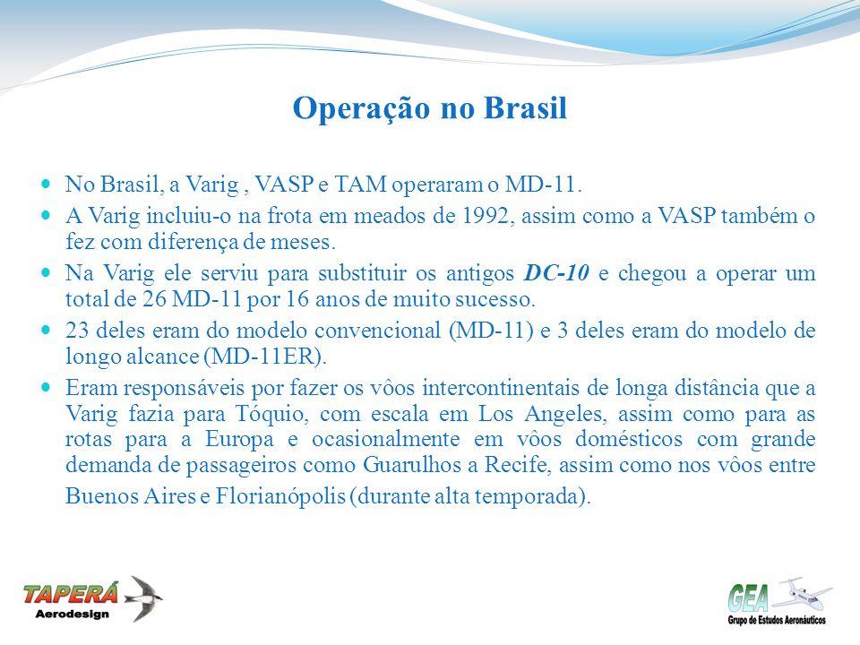 Operação no Brasil No Brasil, a Varig, VASP e TAM operaram o MD-11. A Varig incluiu-o na frota em meados de 1992, assim como a VASP também o fez com d