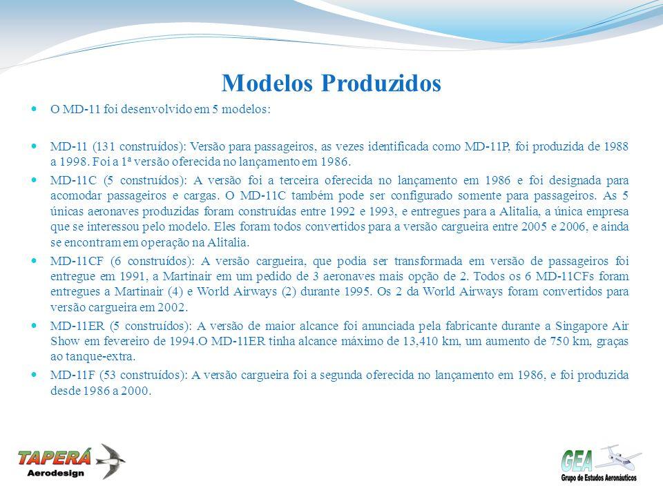 Modelos Produzidos O MD-11 foi desenvolvido em 5 modelos: MD-11 (131 construídos): Versão para passageiros, as vezes identificada como MD-11P, foi pro