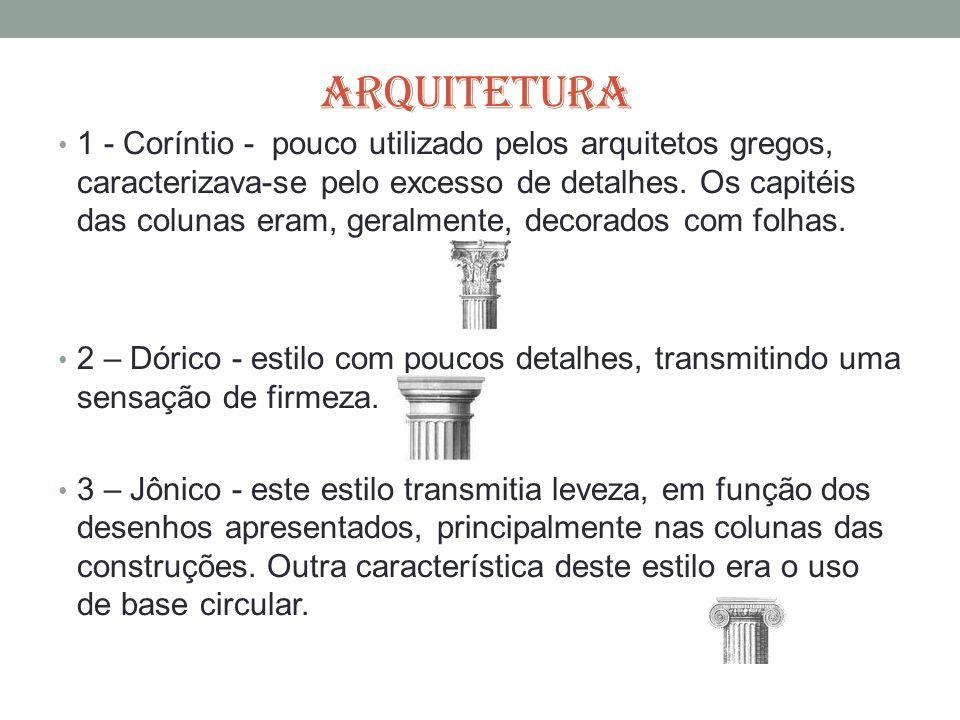ARQUITETURA 1 - Coríntio - pouco utilizado pelos arquitetos gregos, caracterizava-se pelo excesso de detalhes. Os capitéis das colunas eram, geralment