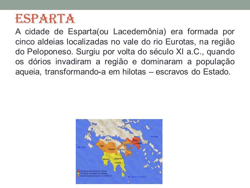ESPARTA A cidade de Esparta(ou Lacedemônia) era formada por cinco aldeias localizadas no vale do rio Eurotas, na região do Peloponeso. Surgiu por volt