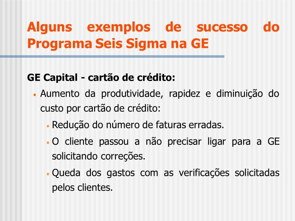 Alguns exemplos de sucesso do Programa Seis Sigma na GE GE Capital - cartão de crédito: Aumento da produtividade, rapidez e diminuição do custo por ca