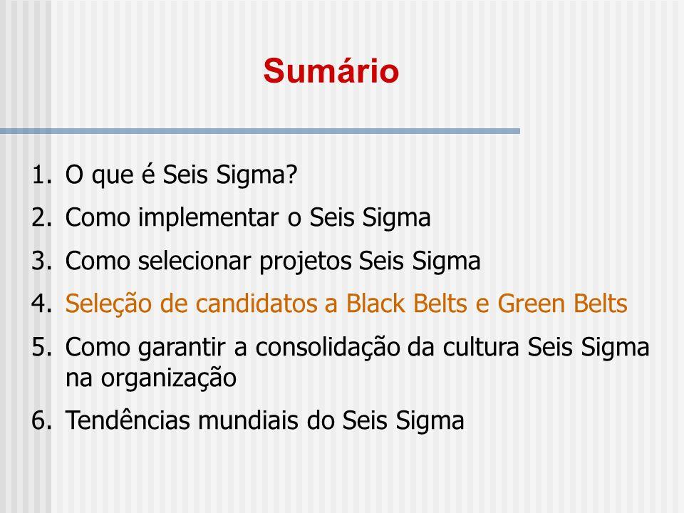 1.O que é Seis Sigma? 2.Como implementar o Seis Sigma 3.Como selecionar projetos Seis Sigma 4.Seleção de candidatos a Black Belts e Green Belts 5.Como