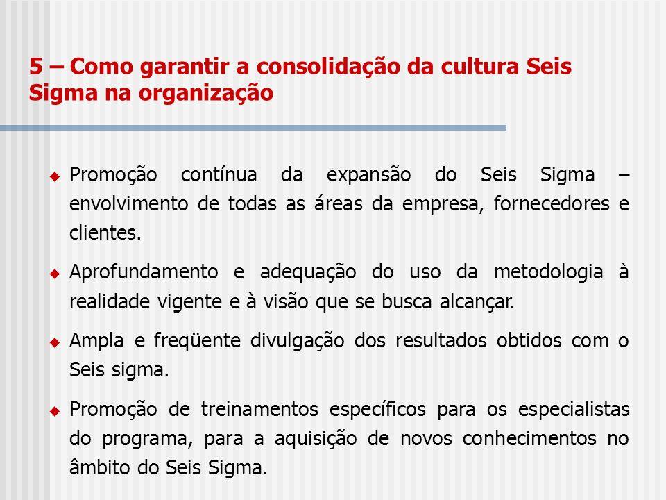 5 – Como garantir a consolidação da cultura Seis Sigma na organização Promoção contínua da expansão do Seis Sigma – envolvimento de todas as áreas da