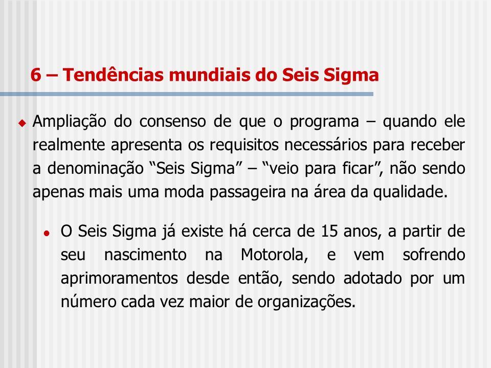 Ampliação do consenso de que o programa – quando ele realmente apresenta os requisitos necessários para receber a denominação Seis Sigma – veio para f