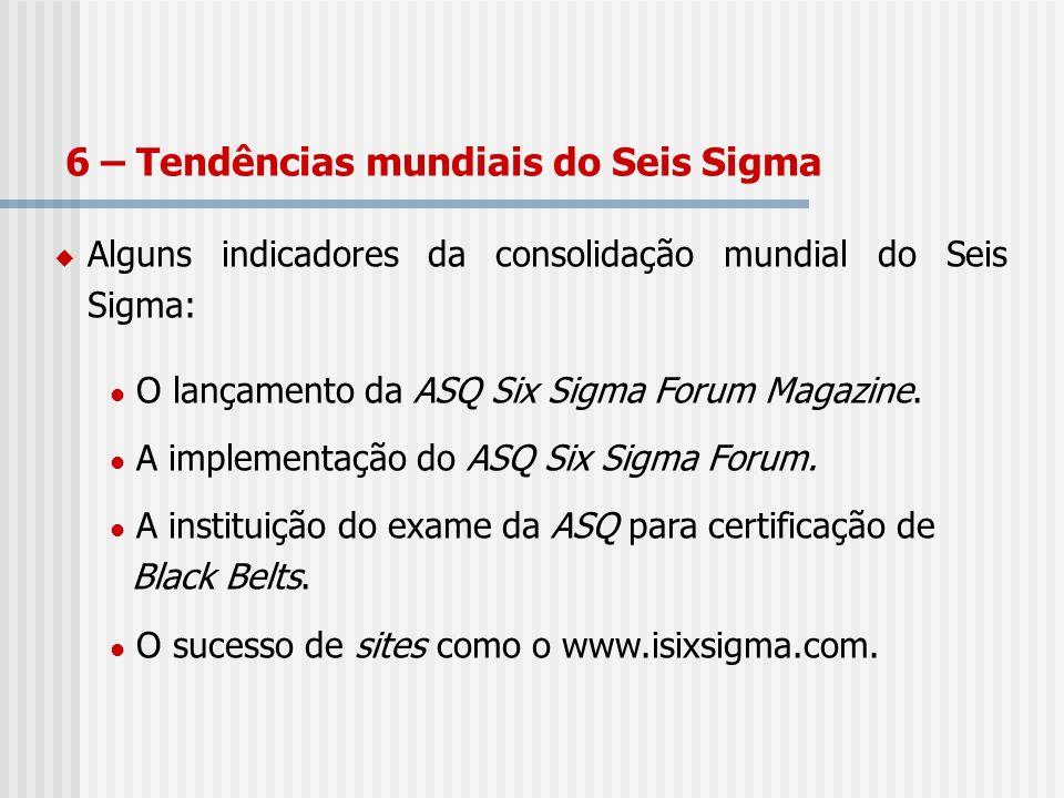 Alguns indicadores da consolidação mundial do Seis Sigma: O lançamento da ASQ Six Sigma Forum Magazine. A implementação do ASQ Six Sigma Forum. A inst
