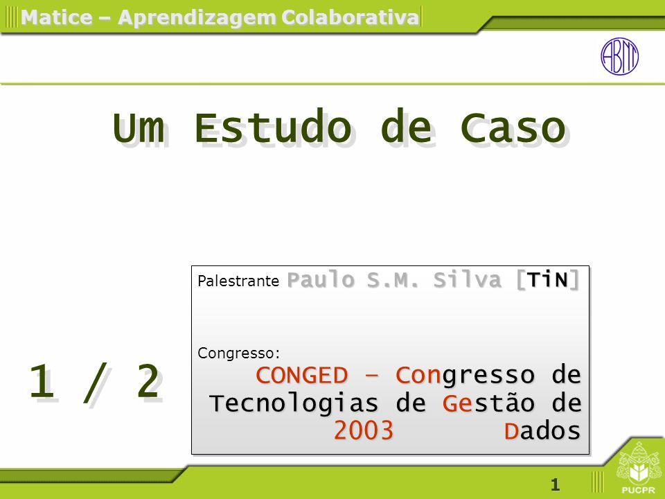 1 Matice – Aprendizagem Colaborativa Paulo S.M.Silva [TiN] Palestrante Paulo S.M.