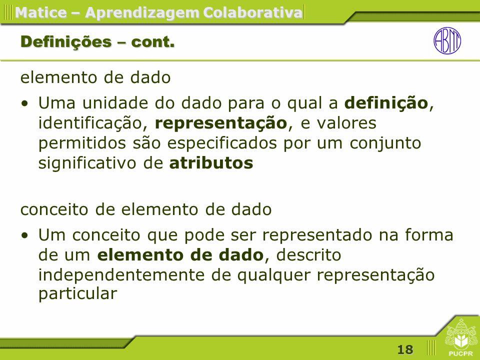 18 Matice – Aprendizagem Colaborativa Definições – cont.
