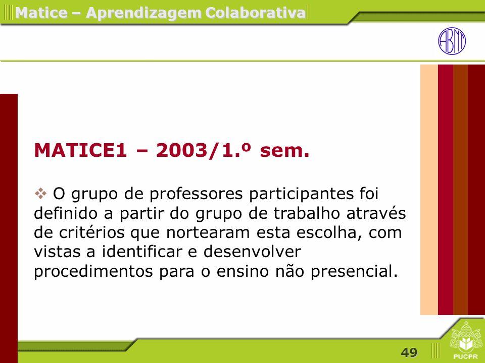 49 Matice – Aprendizagem Colaborativa MATICE1 – 2003/1.º sem.