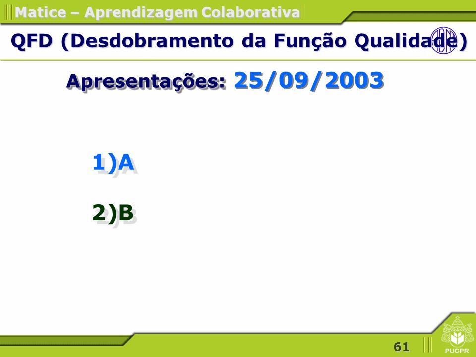 61 Matice – Aprendizagem Colaborativa 1)A 2)B 1)A 2)B QFD (Desdobramento da Função Qualidade) QFD (Desdobramento da Função Qualidade) Apresentações: Apresentações: 25/09/2003