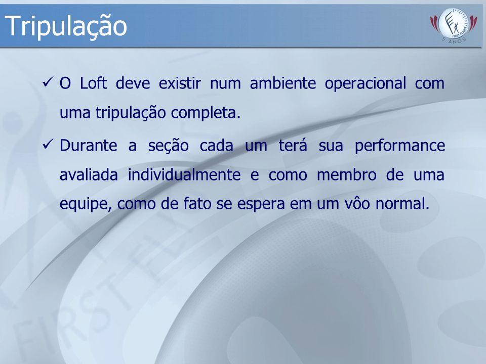 Tripulação O Loft deve existir num ambiente operacional com uma tripulação completa. Durante a seção cada um terá sua performance avaliada individualm