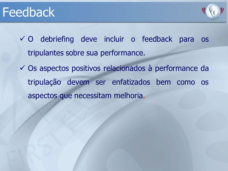 Feedback O debriefing deve incluir o feedback para os tripulantes sobre sua performance. Os aspectos positivos relacionados à performance da tripulaçã